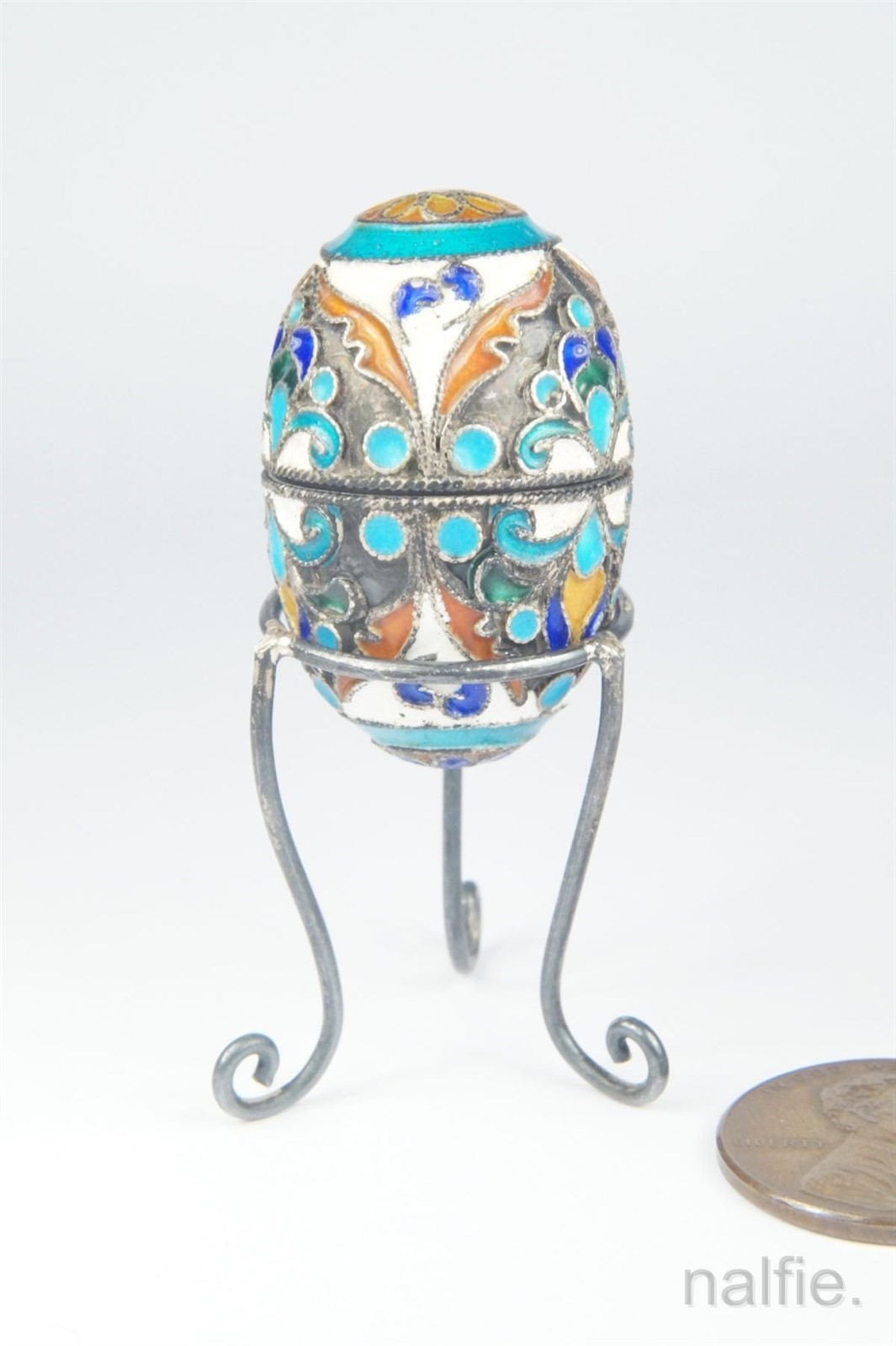 Antique russian silver cloisonn enamel egg w stand c1900 for Cloison stand