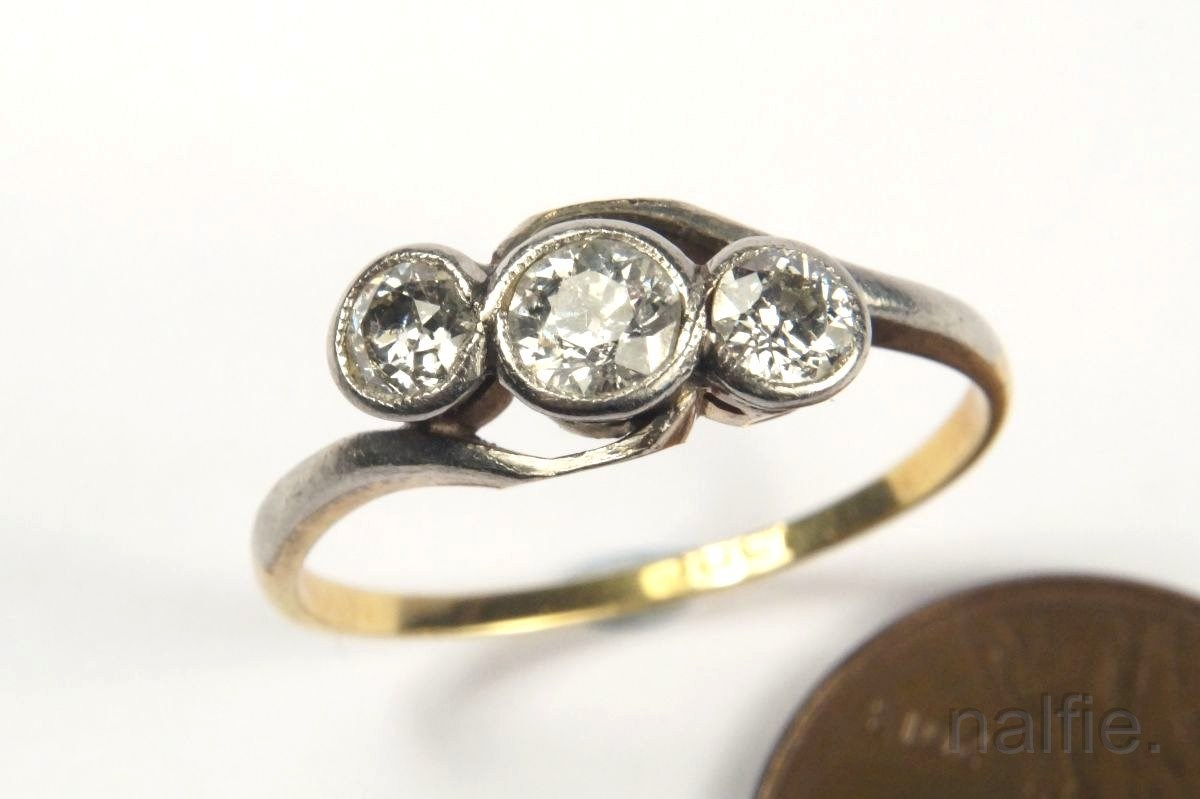 24f569111dd8d Details about ANTIQUE ENGLISH 18K GOLD & PLATINUM DIAMOND TRILOGY CROSSOVER  RING c1910