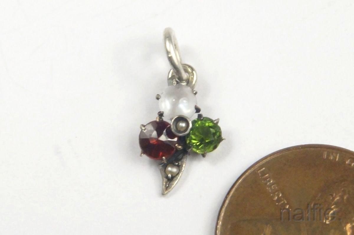 antique silver moonstone garnet emerald paste pearl