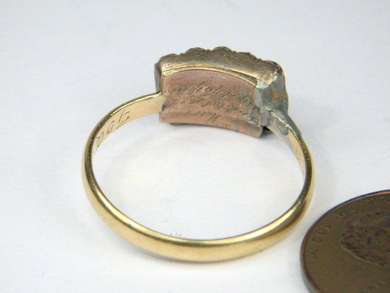 early antique 18k gold posy poesy ring god for me