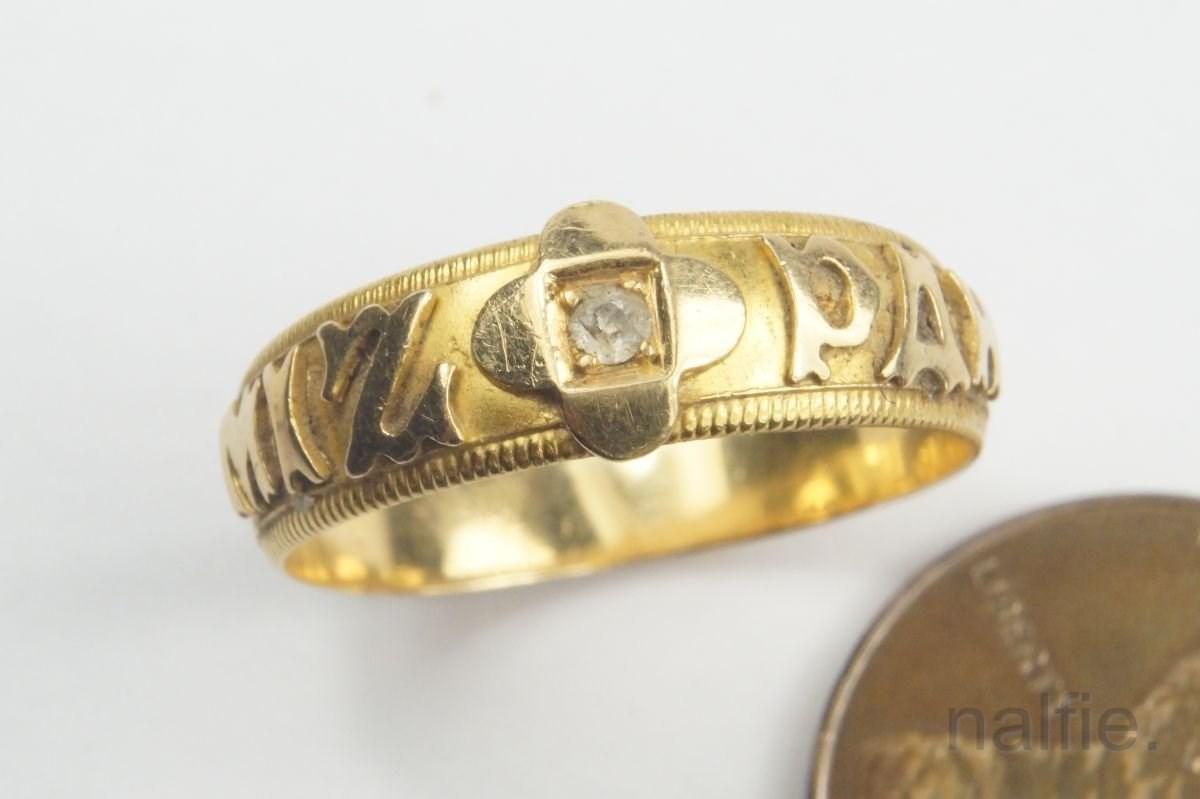Antique English 18 Carat Gold Diamond Mizpah Ring C1901 Ebay